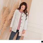 《EA2861》細緻磨毛蕾絲花邊造型長袖外套/大衣--適 XL~6L OrangeBear