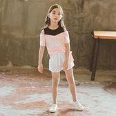 女童短袖時髦衣服露肩韓范顯瘦夏裝套裝【聚寶屋】