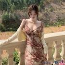 熱賣抹胸洋裝 右米法式復古氣質裙子抽繩藝術感油畫長裙吊帶裙收腰抹胸連身裙女【618 狂歡】