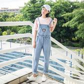 2018春裝新款韓版學院風刺繡寬鬆顯瘦減齡牛仔背帶褲女學生長褲潮『潮流世家』