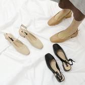 【新年鉅惠】 涼鞋2018新款女夏學生小清新高跟鞋包頭奶奶鞋一字CHIC晚晚網紅鞋