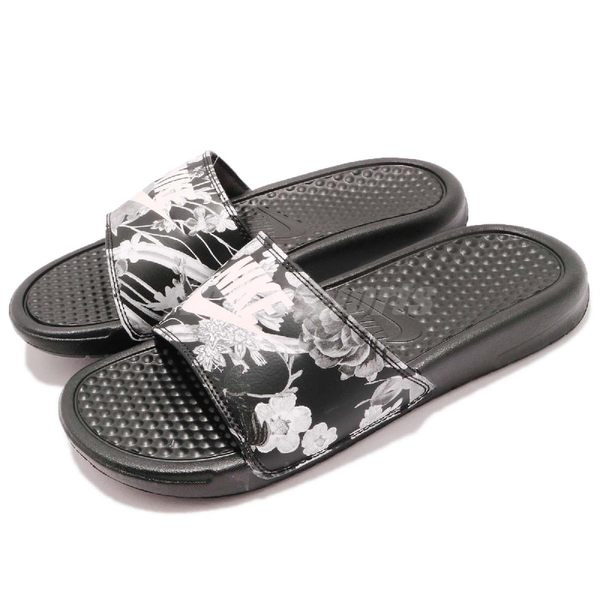 Nike 拖鞋 Wmns Benassi JDI Print 花花 黑 白 花卉 涼拖鞋 女鞋 男鞋【PUMP306】 618919-020
