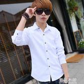 夏季純色長袖襯衫男士韓版修身青少年休閒白色襯衣潮流男裝外套寸 藍嵐