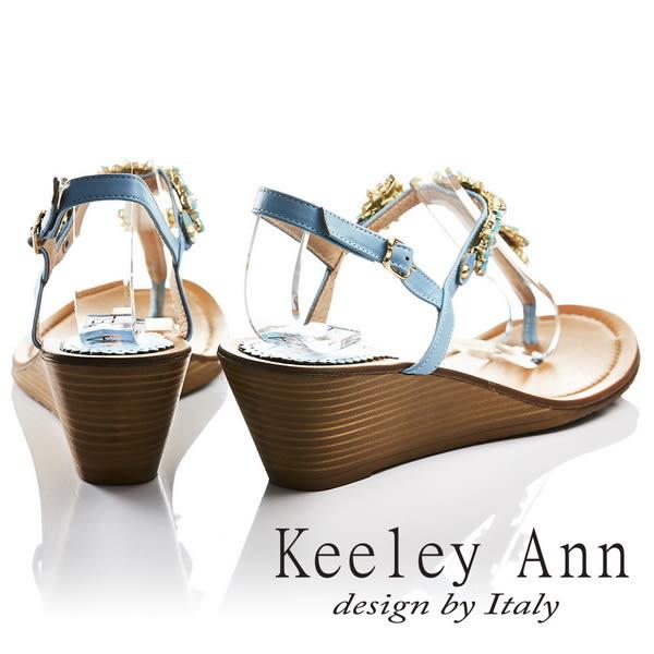 ★零碼出清★Keeley Ann閃耀時刻~太陽花朵芒刺鑲鑽全真皮楔形T字夾腳涼鞋(藍色)
