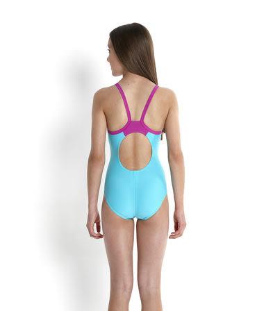 [陽光樂活]SPEEDO 女孩運動連身泳裝 SD809533A709 藍*桃紅(特價出清)