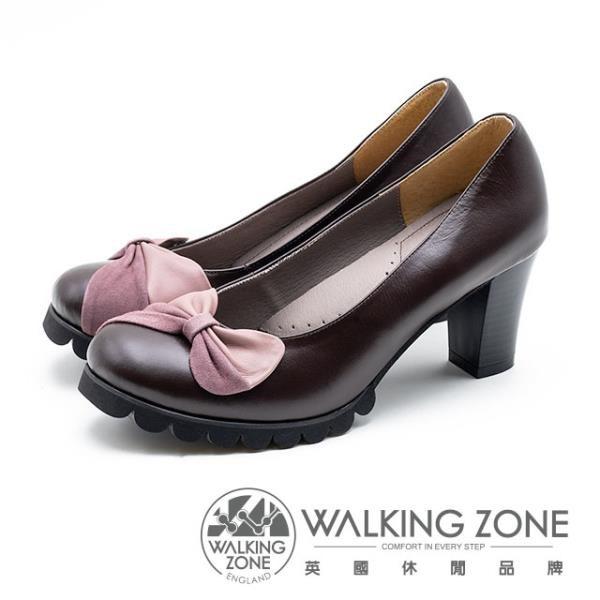 【南紡購物中心】WALKING ZONE 拼接蝴蝶結 粗跟高跟鞋 女鞋 - 棕(另有黑)