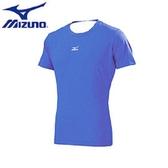 【美津濃 MIZUNO】運動專用 麻花材質 快乾 抗UV 短袖緊身衣 - 12TA6C1724 (新藍紫) 【陽光樂活】