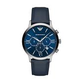 【Emporio Armani】美式經典羅馬時標三眼時尚腕錶-海洋藍/AR11226/台灣總代理公司貨享兩年保固