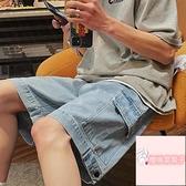夏季寬松簡約百搭工裝五分褲休閑直筒馬褲牛仔短褲男【櫻桃菜菜子】