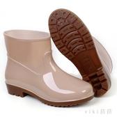 雨鞋女防水短筒水鞋男士夏季低筒防滑雨靴耐磨牛筋厚底勞工鞋膠鞋SY53【VIKI菈菈】