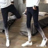 男士修身牛仔褲 新款噴漆點印花男褲子漸變色緊身百搭 BF20343『寶貝兒童裝』