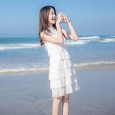 無袖洋裝超仙白色寬松連身裙女夏網紅法式顯瘦蛋糕裙子雪紡無袖一字領上衣 JUST M