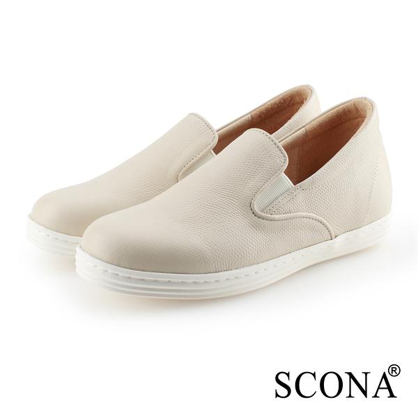 SCONA 蘇格南 全真皮 樂活內增高樂福休閒鞋 米色 7325-2