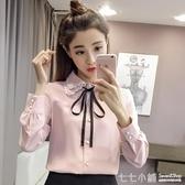 雪紡襯衫女長袖秋冬裝2019年新款韓版寬鬆蝴蝶結襯衣加絨打底上衣