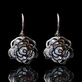 耳環 玫瑰金純銀 鑲鑽-鏤空玫瑰花生日情人節禮物女飾品73hz49[時尚巴黎]
