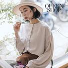 Queen Shop【01096138】純色中山領澎袖雪紡上衣 兩色售*現+預*