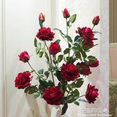 5頭高品質仿真玫瑰花落地假花客廳擺放花卉絹花仿真花束裝飾花·花漾美衣 IGO