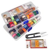 聖誕繽紛節❤家用針線盒套裝便攜式手提縫紉工具20色線套針線包縫補工具收納盒