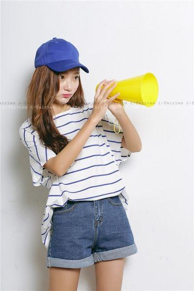寬鬆條紋短袖T恤 上衣 ★ifairies【41357】