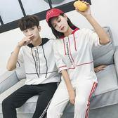 情侶裝 秋裝新款韓版短袖T恤寬松時尚休閑運動套裝學生班服