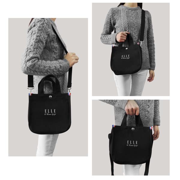 ELLE 極簡風帆布斜背小方包 黑色 EL52370 周年限定版