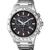 CITIZEN 星辰 Chronograph 光動能計時手錶-黑x銀/42mm AT2420-83E