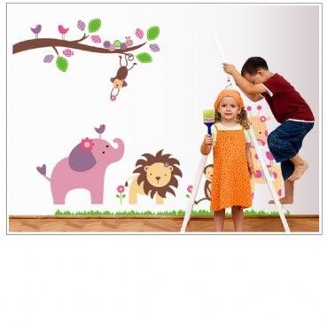 高級無痕環保壁貼動物樂園A60x90cm 混款