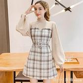 洋裝 2020秋冬季新款小個子氣質復古格子假兩件裙子針織拼接毛呢連身裙 年終大酬賓