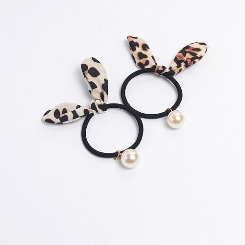 【NiNi Me】韓系髮飾 氣質甜美豹紋兔耳朵珍珠鴨嘴夾髮夾髮束 髮束 H9452