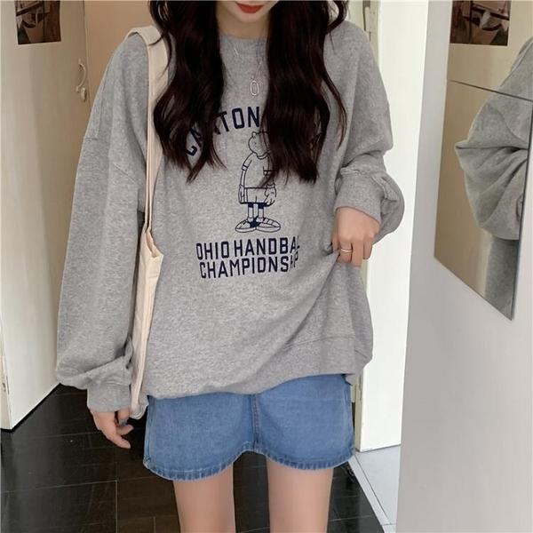 春秋上衣新款流行韓版寬鬆慵懶風長袖衛衣女裝薄款外套ins潮 快速出貨