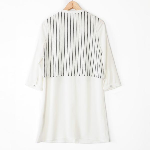 【MASTINA】直條紋拼接襯衫洋裝-白 好康優惠