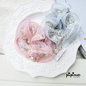 韓絲質花花布料+珍珠飾品大腸頭花花髮圈-8452-pipima