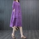 洋裝 棉麻洋裝女夏季新款寬鬆大碼拼接褶皺遮肚A字裙正韓亞麻中長裙-Ballet朵朵