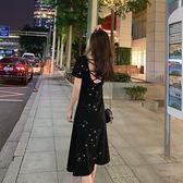【GZ5B4】bling亮片顯瘦修身連身裙洋裝小心機交叉繩子露背中長裙