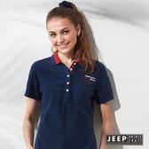 【JEEP】女裝 雙色領文字刺繡短袖POLO衫 (藍色)