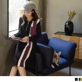《DA7195-》高含棉拼色直條高領半開襟洋裝 OB嚴選