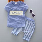 淡藍英文上衣 男童兩件式 T桖+褲子(80-110cm) 男童套裝 夏季套裝【巴布百貨】