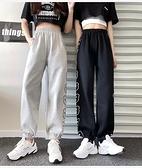 休閒褲M-2XL夏裝 學院風新款潮百搭寬松卡通休閑哈倫衛褲薄款運動褲M028紅粉佳人