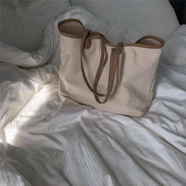 ins簡約撞色帆布包
