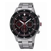 SEIKO Criteria 太陽能三眼計時腕錶/黑面x紅/V175-0DA0R