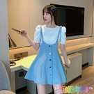夏季新款韓版復古學生百搭網紅收腰顯瘦A字牛仔吊帶短裙連衣裙女 快速出貨