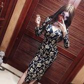 洋裝連身裙韓版時尚氣質印花閃光V領高開叉長裙修身顯瘦連身裙/