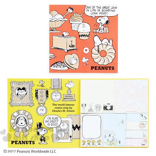 〔小禮堂〕史努比 自黏便利貼組《橘.甜點》8款各25張.三色漫畫系列 4901610-50250