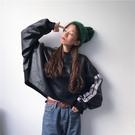 外套港味chic復古原宿風寬鬆bf條紋長袖連帽T恤女秋季韓版短款皮衣外套潮