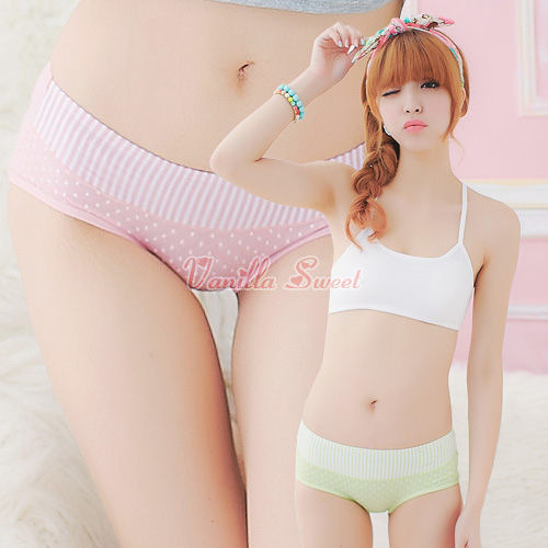舒適棉質直紋撞色Mix點點內褲‧愛蜜甜心 - 香草甜心