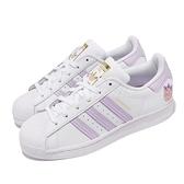 adidas 休閒鞋 Superstar W 三葉草 白 紫 貝殼頭 再生材質 女鞋 小白鞋 【ACS】 GZ8143