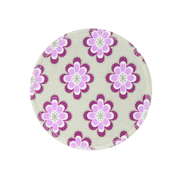 BabyPark 美國Mothers Lounge Breast Pad 可洗式環保溢乳墊-粉紫花朵(一組四入)