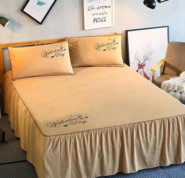 席夢思純色床裙床罩床套單件韓式床群床笠床單1.8m1.5米2.0冬季 【新年快樂】
