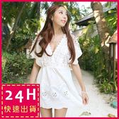 梨卡★現貨 - 比基尼罩衫上衣[海。呼喚]韓國設計鏤空鉤花-出國度假沙灘裙C5014