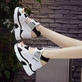 厚底增高涼鞋女女鞋羅馬高跟鞋運動鬆糕鞋百搭坡跟正韓  魔法鞋櫃